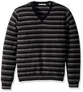 Vince Men's Striped Cashmere V-Neck Sweater