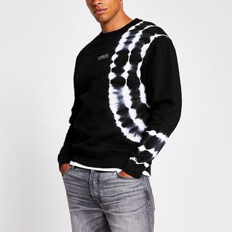 River Island Prolific black tye die slim fit sweatshirt