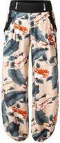 BAISHENGGT Women's Casual Jogger Harem Pants With Side Pockets Black Floral