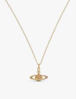 Vivienne Westwood Mini Bas Relief diamante orb necklace, Women's, Topaz/gold