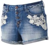 Mudd Juniors' Crochet Jean Shortie Shorts