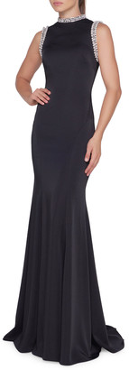 Mac Duggal Ieena For HIGH NECK GOWN FEATURING PEA