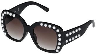 Sam Edelman Large Square with Pearl Detail Frame (Black) Fashion Sunglasses