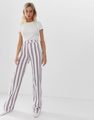 Asos Design DESIGN Full length flare jeans in stripe with exposed fly detail-Multi