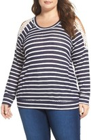 Bobeau Plus Size Women's Crochet Trim Stripe Cold Shoulder Pullover