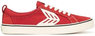 Cariuma CATIBA Low Stripe Samba Red Suede and Canvas Contrast Thread Sneaker