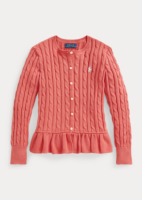 Ralph Lauren Cable-Knit Cotton Peplum Cardigan
