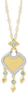 Enchanted Disney Fine Jewelry Swiss Blue Topaz (1/6 ct. t.w.) & Diamond (1/10 ct. t.w.) Jasmine Pendant Necklace in 10k Gold