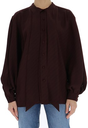 Givenchy Pussybow Chain Jacquard Blouse