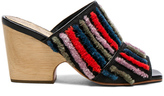 Rachel Comey Embroidered Dahl Sandals in Stripes,Black.