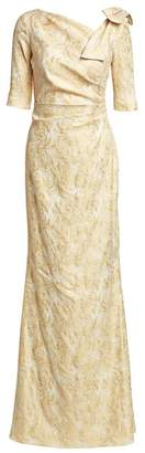 Teri Jon By Rickie Freeman Bow Shoulder Metallic Jacquard Gown