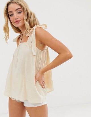 ASOS DESIGN sun top with tie shoulder in textured casual fabric