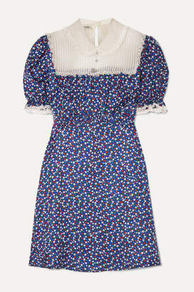 Miu Miu Lace-trimmed Floral-print Silk-satin And Silk-georgette Mini Dress - Blue