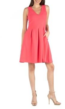 24seven Comfort Apparel V-Neck Sleeveless A-Line Dress with Pockets