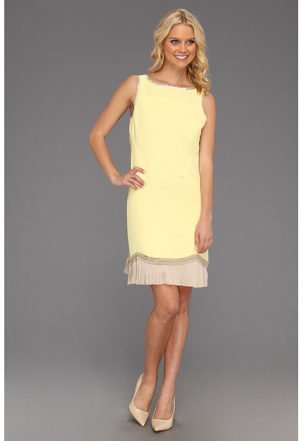 Badgley Mischka Mark James Pleated Hem Shift (Lemon) - Apparel