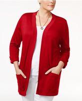 Karen Scott Plus Size Cotton Open-Front Cardigan, Created for Macy's