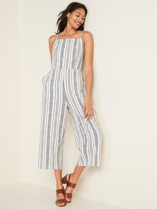 Old Navy Linen-Blend Geometric-Stripe Cami Jumpsuit for Women