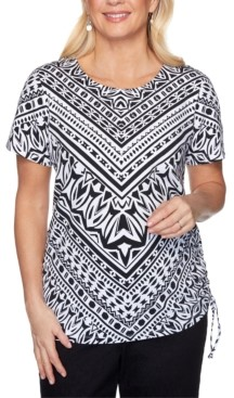 Alfred Dunner Plus Size Checkmate Geometric-Print Tie-Side Top