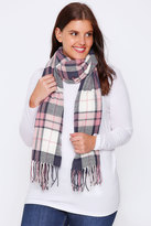 Yours Clothing Pink, Cream & Navy Oversized Check Scarf