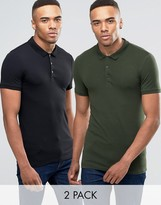 Asos 2 Pack Extreme Muscle Jersey Polo Shirt In Black/Green