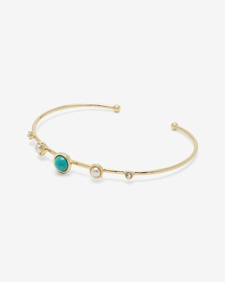 Express Stone & Pearl Prong Cuff Bracelet