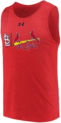 Men's Under Armour Heathered Red St. Louis Cardinals Dual Logo Performance Tri-Blend Tank Top