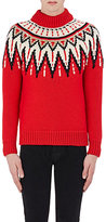 Saint Laurent Men's Sequin-Embellished Fair Isle Sweater