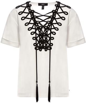 Nissa Viscose White Top With Embellished Neckline