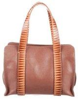 Malo Woven-Trimmed Leather Shoulder Bag
