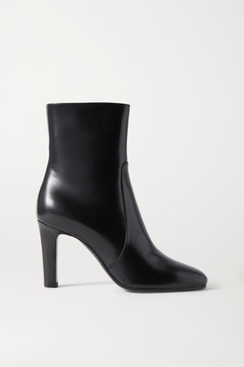 Saint Laurent Blu Leather Ankle Boots - Black