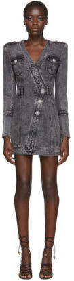 Balmain Black Faded Denim Dress