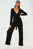 Missguided Black Rib Wrap Cardigan And Trousers Co Ord Set