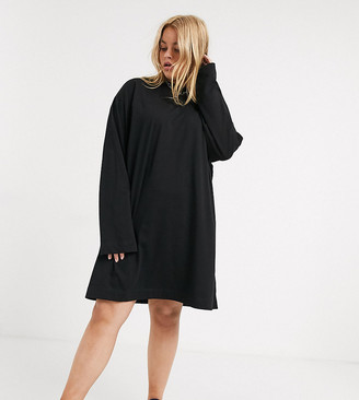 Collusion Plus exclusive long sleeve t shirt dress in black