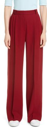 Rosetta Getty Pleated Wide Leg Wool Trousers