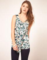 See U Soon Tile Floral Print Ruffle Top