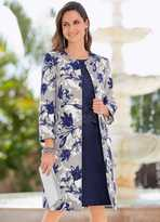 Together Collarless Floral Print Coat