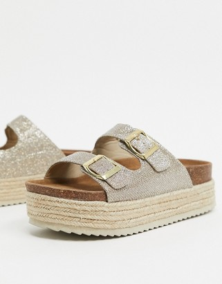 Xti flatform double buckle espadrille sandals in taupe