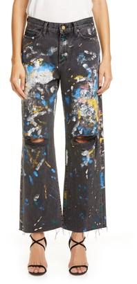 Simon Miller Paint Splatter Wide Leg Crop Jeans