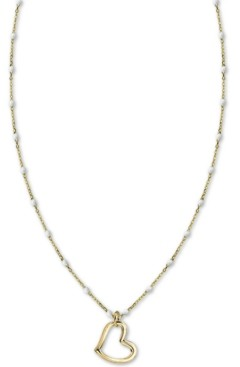 "Argentovivo White Beaded Chain Heart 18"" Pendant Necklace in Gold-Plate Over Sterling Silver"