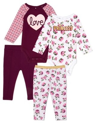 Garanimals Baby Girl Bodysuits & Pants Outfit Sets, 4-Piece Multi Pack