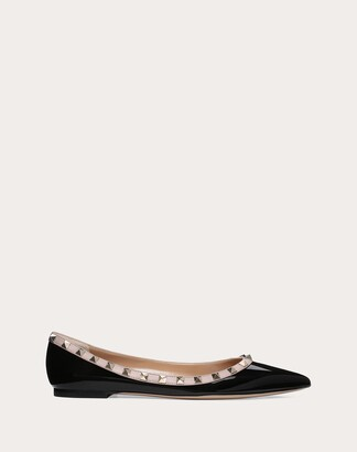 Valentino Patent Rockstud Ballet Flat Women Black/poudre Cotton, Polyester 38