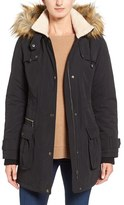 Halogen Hooded Anorak with Faux Fur Trim (Regular & Petite)