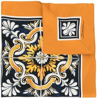 Dolce & Gabbana Maiolica print silk scarf