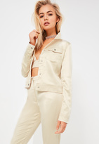 Missguided Galore Nude Satin Jacket