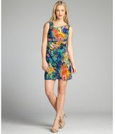 Suzi Chin navy and coral floral printed silk pleated tank dress