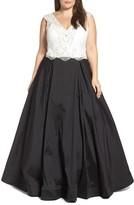 Mac Duggal Plus Size Women's Embellished Lace & Taffeta Ballgown