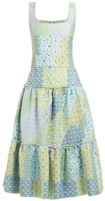 Luisa Beccaria Tiered Cloque Midi Dress - Blue Print