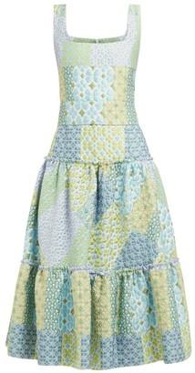 Luisa Beccaria Tiered Cloque Midi Dress - Womens - Blue Print