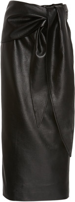 MATÉRIEL High-Waisted Faux Leather Knotted Pencil Skirt
