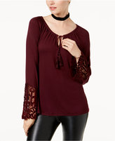 INC International Concepts Lace-Trim Peasant Top, Created for Macy's